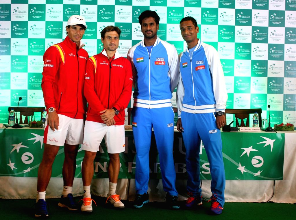 Spanish tennis players Rafael Nadal, David Ferrer, Indian tennis players Ramkumar Ramanathan and Sumit Nagal during Davis Cup 2016 draw ceremony in New Delhi on Sept 15, 2016.