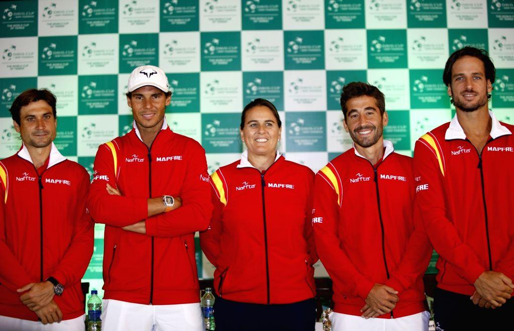 Spanish tennis team Rafael Nadal, Marc Lopez, David Ferrer, Conchita Martinez and Feliciano Lopez during Davis Cup 2016 draw ceremony in New Delhi on Sept 15, 2016.