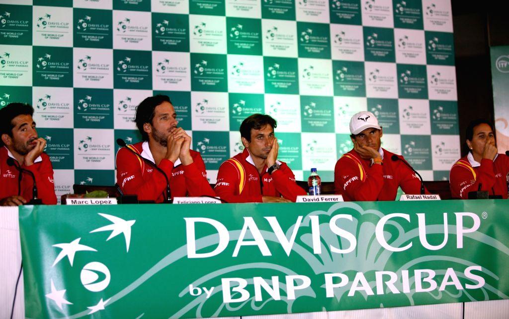 Spanish tennis team Rafael Nadal, Marc Lopez, David Ferrer, Conchita Martinez and Feliciano Lopez during press conference in New Delhi on Sept 15, 2016.