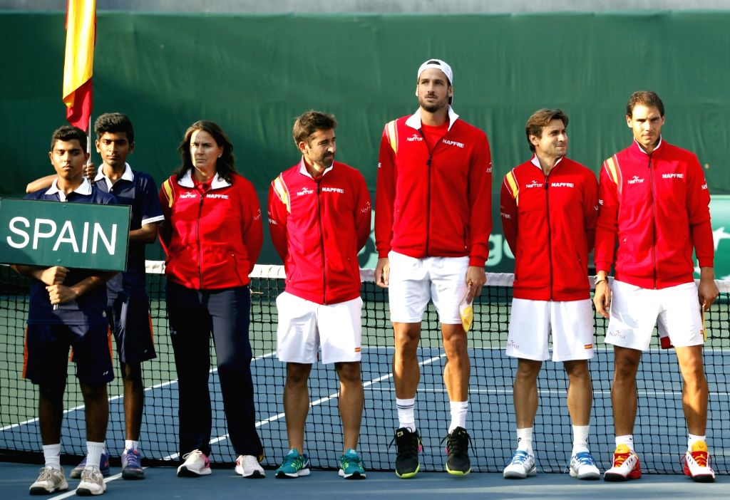 Spanish tennis team Rafael Nadal, Marc Lopez, David Ferrer, Conchita Martinez and Feliciano Lopez during the Davis Cup World Group playoff opening ceremony at the Delhi Lawn Tennis ...