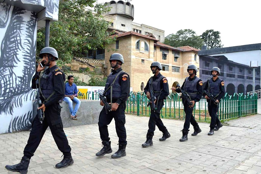Special commandos were seen on city rounds near Minsk Square, in Bengaluru on Aug 16, 2019.