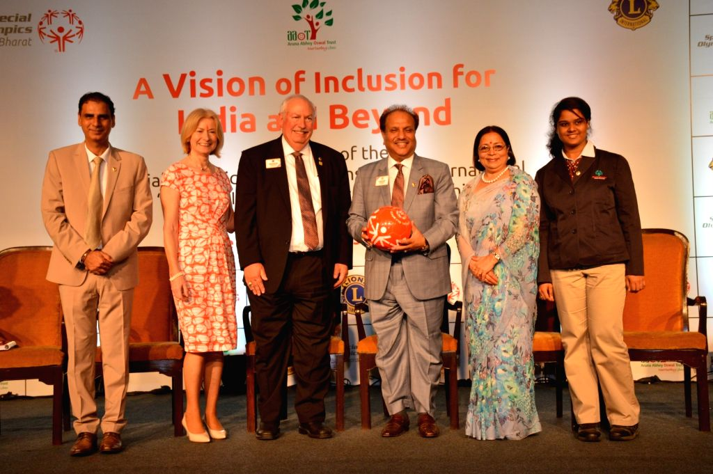 Special Olympics Bharat chairman Kartikay Saini, Special Olympics CEO Mary Davis, Special Olympics Global ambassador Neha Niak and International Director of Lions Clubs International and ...