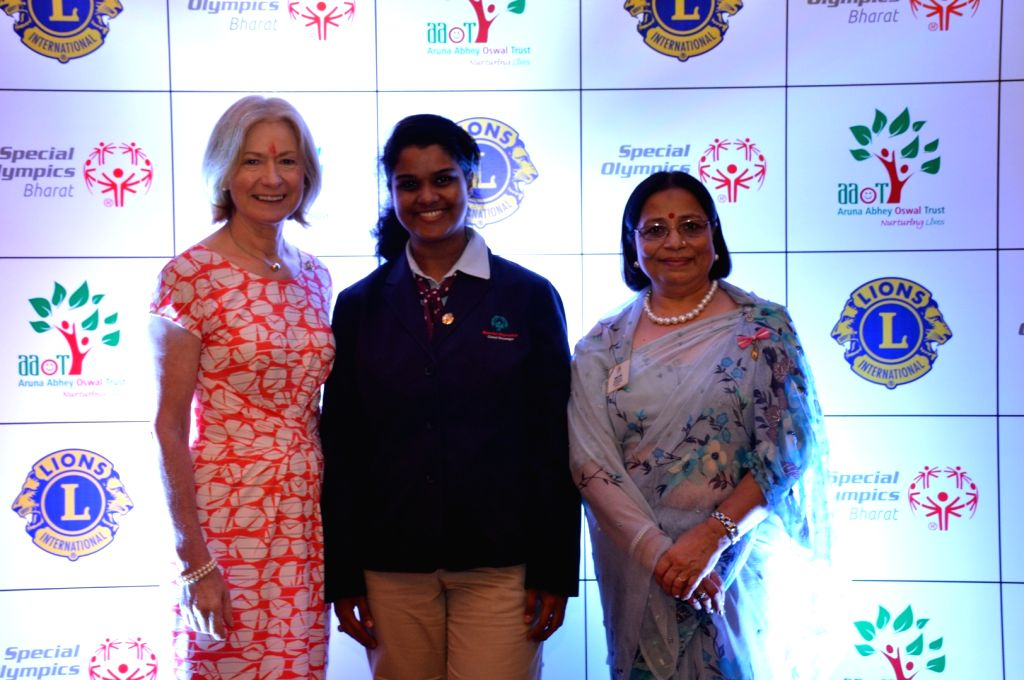 Special Olympics CEO Mary Davis, Special Olympics Global ambassador Neha Niak and International Director of Lions Clubs International and Founder of the Aruna Abhey Oswal Trust Aruna Oswal ...