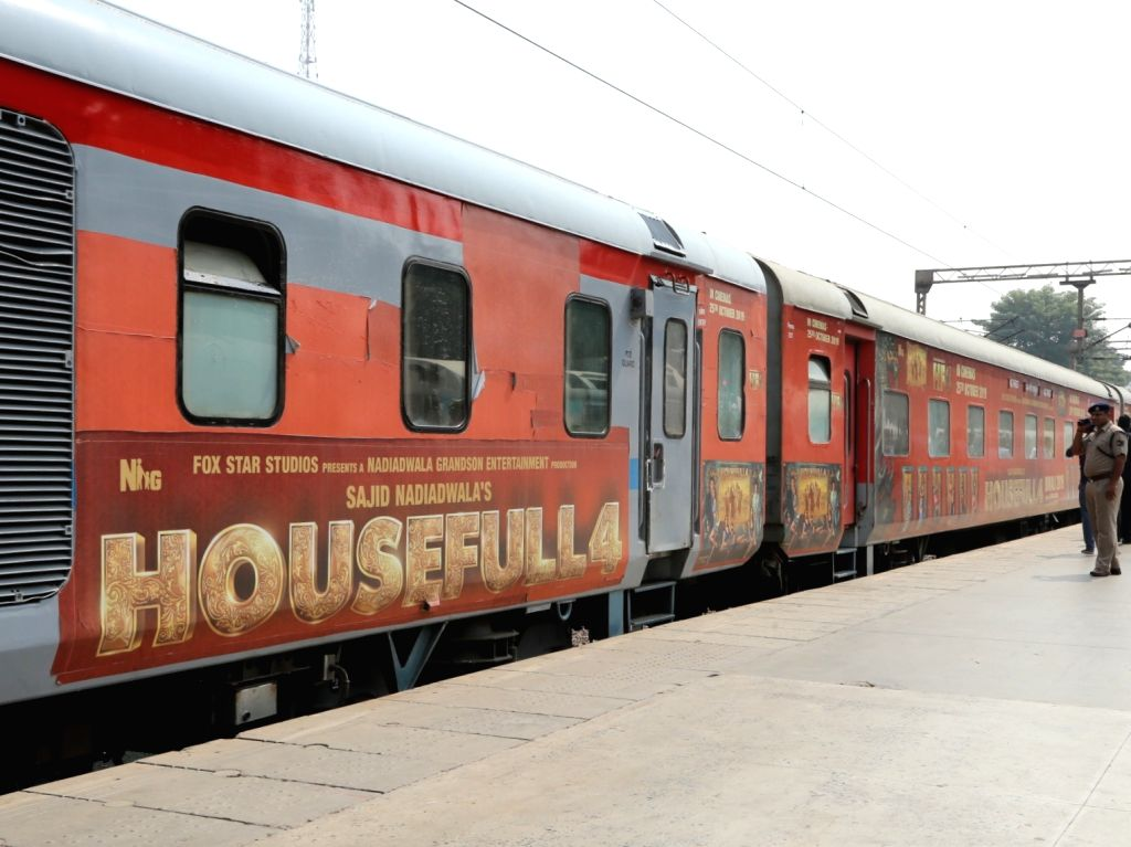 Special promotional train called Housefull 4 Express reaches New Delhi Railway Station, on Oct 17, 2019. On October 16, the team of the upcoming comedy 'Housefull 4' became the first ...