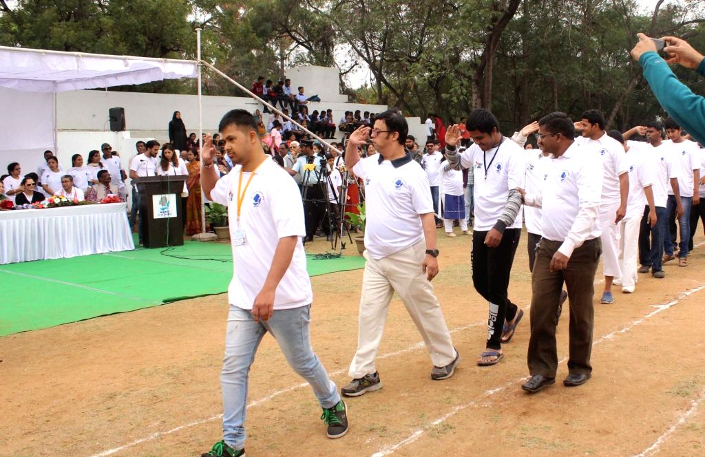 Specially-abled people participate in the 35th Annual Day celebrations of National Institute for the Empowerment of Persons with Intellectual Disabilities (NIEPID) in Secunderabad, ...