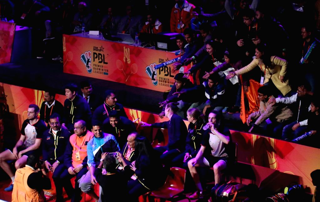 Spectators at Siri Fort Sports Complex during the final of the Premier Badminton League (PBL) in New Delhi, on Jan 17, 2016.