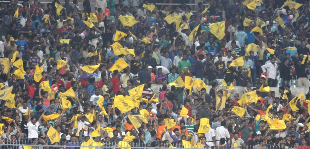 Spectators during an IPL 2017 match between Kolkata Knight Riders and Mumbai Indians at Eden Gardens in Kolkata, on May 13, 2017.