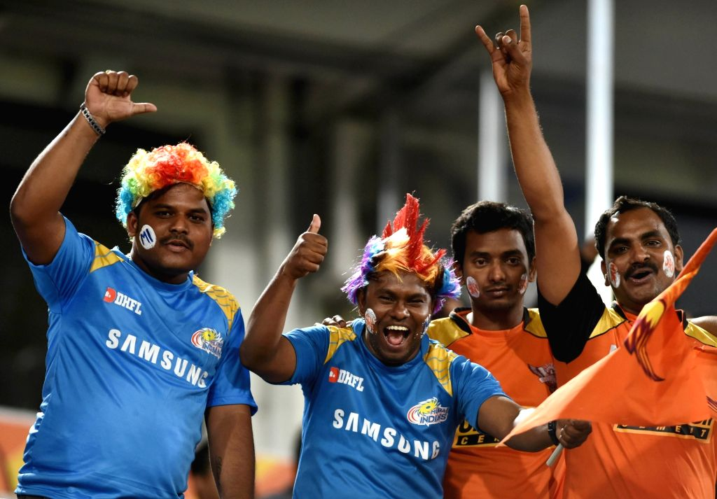 Spectators during an IPL 2018 match between Sunrisers Hyderabad and Mumbai Indians at Rajiv Gandhi International Cricket Stadium in Hyderabad on April 12, 2018.