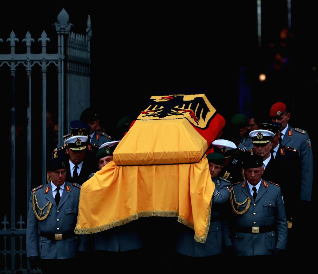 SPEYER, July 2, 2017 - Soldiers carry the coffin of late Chancellor Helmut Kohl out of the Speyer Cathedral after a requiem mass in Speyer, Germany, July 1, 2017. Kohl died on June 16 at 87.