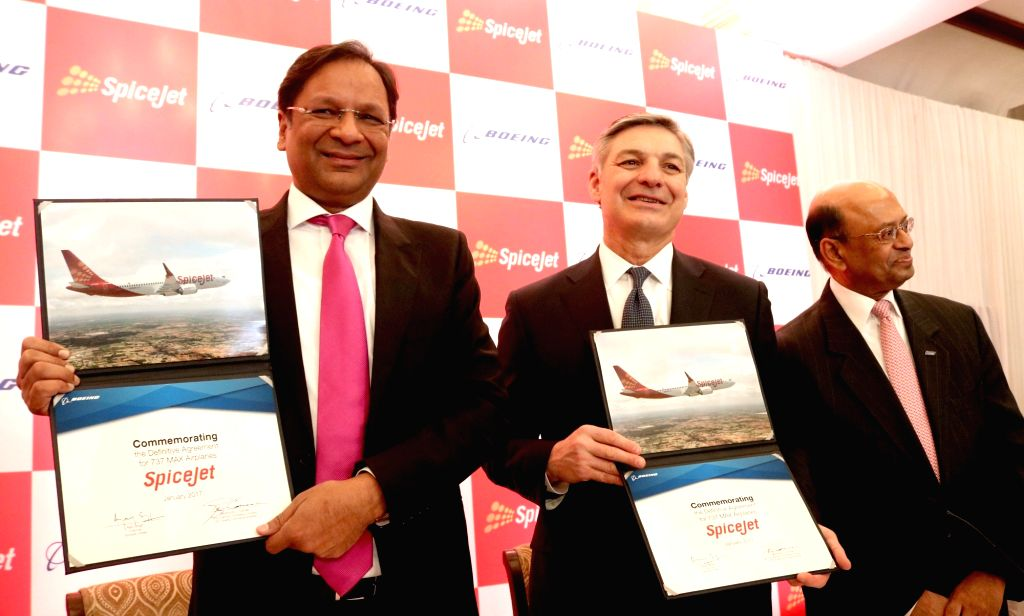SpiceJet Chairman and Managing Director Ajay Singh with Boeing Vice Chairman Ray L. Conner during a programme organised to sign a joint venture in New Delhi on Jan 13, 2017. - Ajay Singh