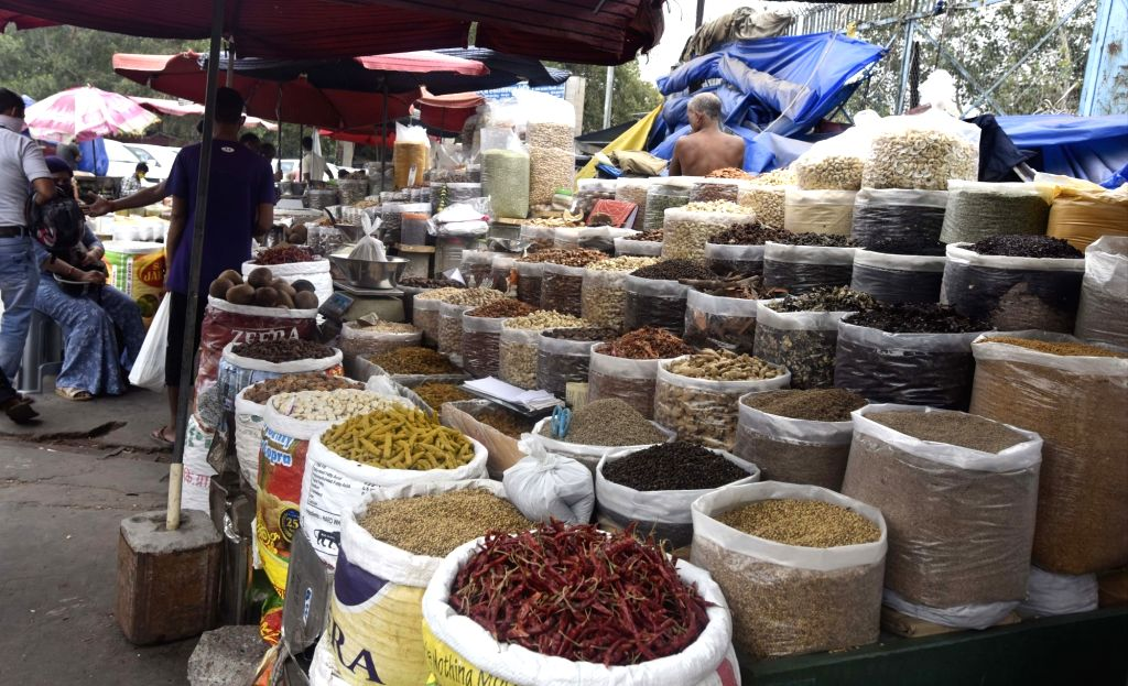 Spices and dry fruits on sale at Delhi's Khari Baoli market, on Oct 28, 2020.