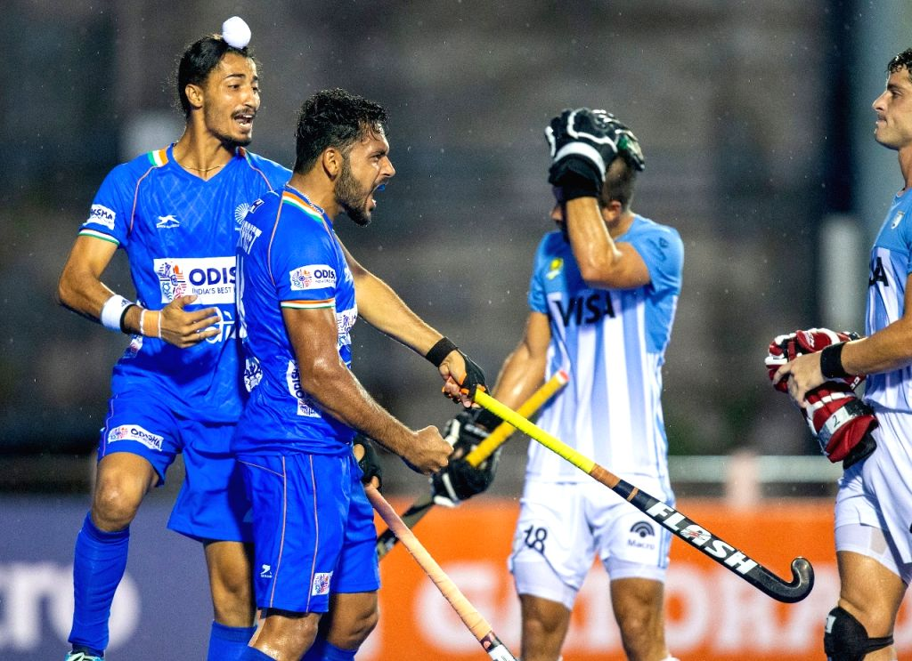 Spirited India fights back to beat Olympic Champions Argentina (2-2) 3-2 in a thrilling shootout.