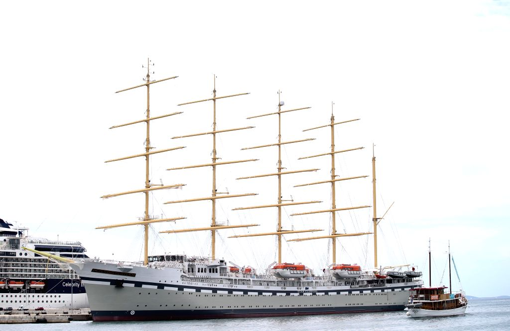 SPLIT, July 16, 2019 - Photo taken on July 15, 2019 shows the sailing ship Flying Clipper in Split, Croatia. Measuring 162 meters long and 18.5 meters wide, the five-deck ship with five masts can ...