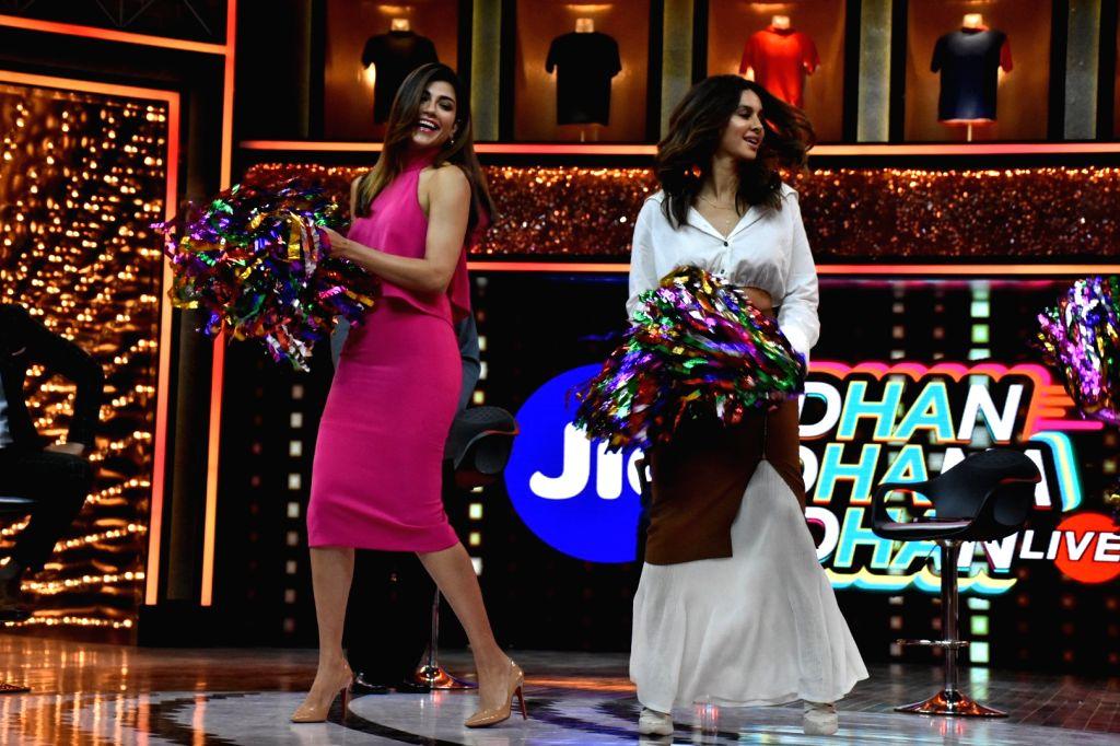"""Sports Anchor Archana Vijaya and actress-host Shibani Dandekar at the launch of cricket and comedy show """"Dhan Dhana Dhan"""" in Mumbai on April 4, 2018."""
