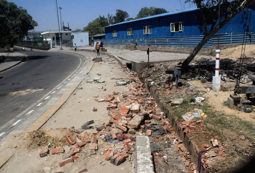 Spot view of a footpath in Nigambodh ghat Kasmiri gate in new Delhi, Two people killed, two injured after a truck ran over in early morning on Tuesday March 31, 2021.