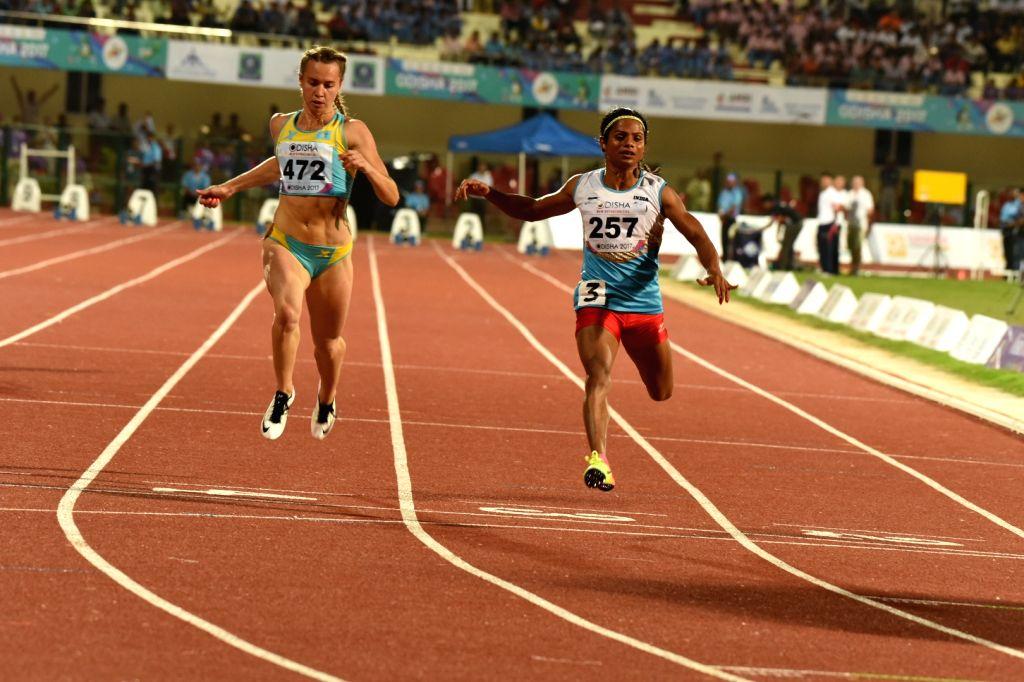 Sprinter Dutee Chand (Right) during Asian Athletics Championship at Kalinga Stadium in Bhubaneswar on July 6, 2017.