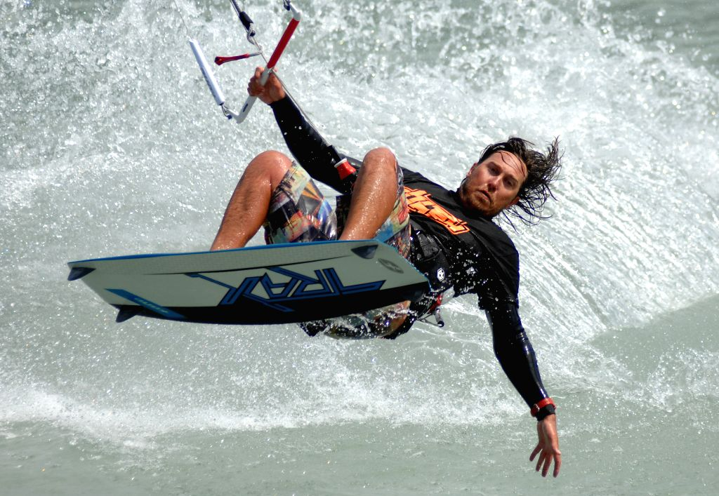 Andrew Ward of Canada competes during the first day of the 2014 Kite Clash Canadian Open Kiteboarding Freestyle Championships in Squamish, BC, Canada, Aug. 1, 2014.