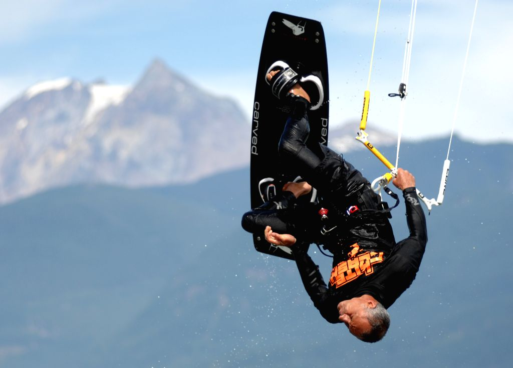 Mark Koenig of Canada competes during the first day of the 2014 Kite Clash Canadian Open Kiteboarding Freestyle Championships in Squamish, BC, Canada, Aug. 1, 2014.