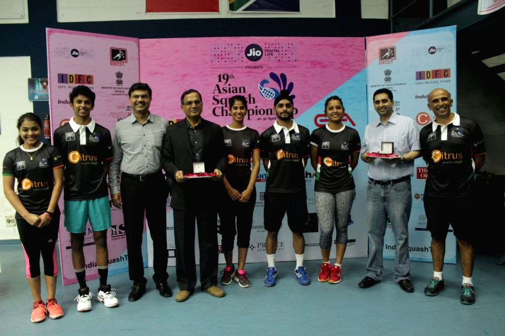 Squash player Dipika Pallika with other players during a press conference to launch the 19th edition of Asian Squash Championship Chennai, in Chennai on April 24, 2017.