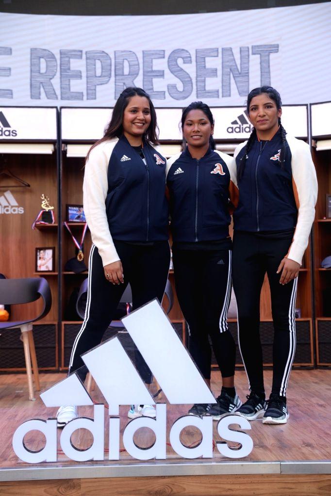 Squash player Dipika Pallikal Karthik, heptathlete Swapna Barman and boxer Simranjit Kaur at the launch of Adidas VRCT jacket, in New Delhi on Sep 13, 2019. - Simranjit Kaur