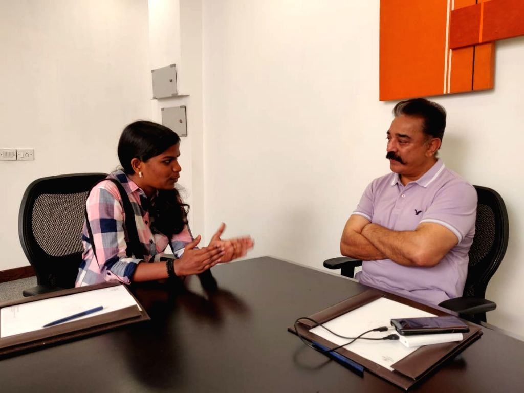 Sreedhanya Suresh, the first tribal girl from Kerala???s Wayanad to clear the UPSC All India civil services exam, meets Makkal Needhi Maiam President Kamal Haasan, in Chennai on April 27, ...
