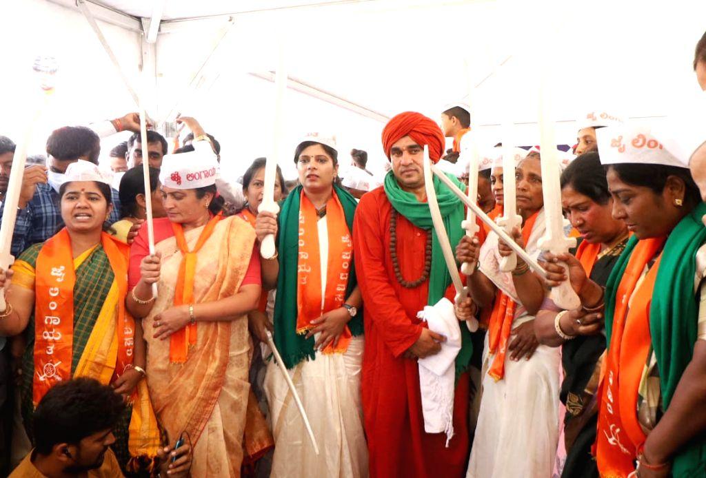 Sri Jaya Mrityunjaya Swamiji and Panchamasali community people staging dharan at Freedom Park demanding 2A reservation for Panchamasali (Lingayat) community, in Bengaluru on Monday 22nd  February ...