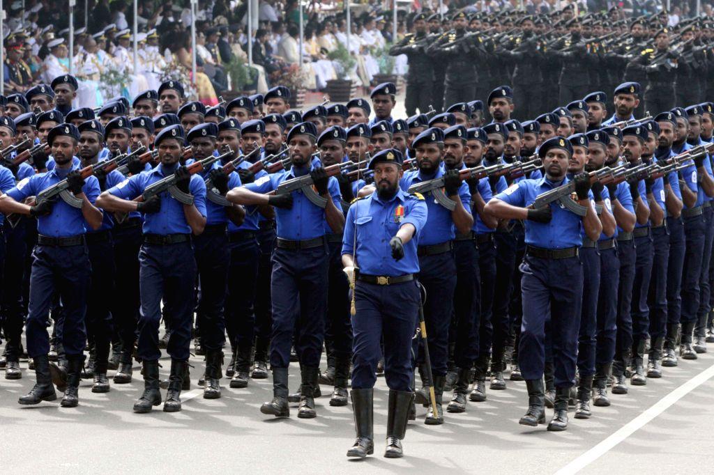 SRI LANKA, Feb. 4, 2019 - Sri Lankan military members march in the parade during Sri Lanka's 71st Independence Day celebrations in Colombo, Sri Lanka, Feb. 4, 2019.