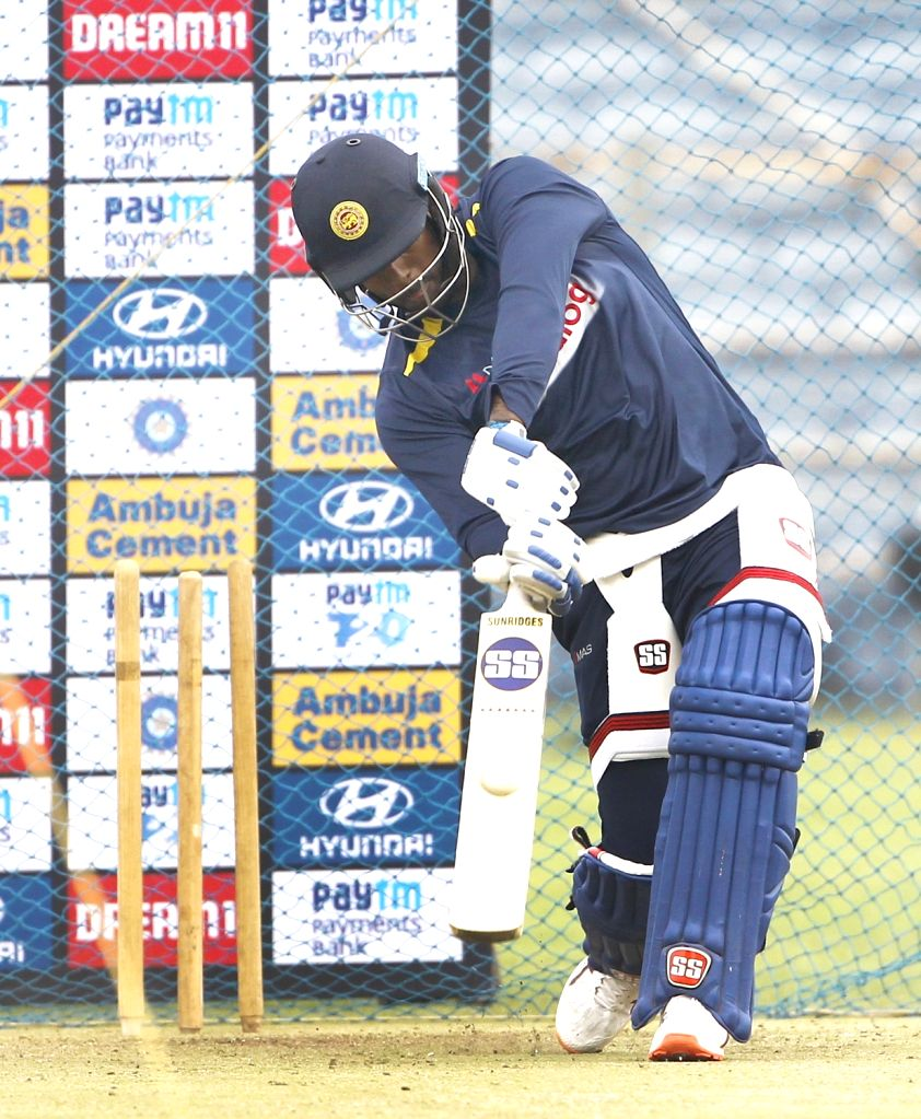 Sri Lanka's Angelo Mathews during a practice session ahead of the 3rd T20I match against India at the Maharashtra Cricket Association Stadium in Pune on Jan 9, 2020.