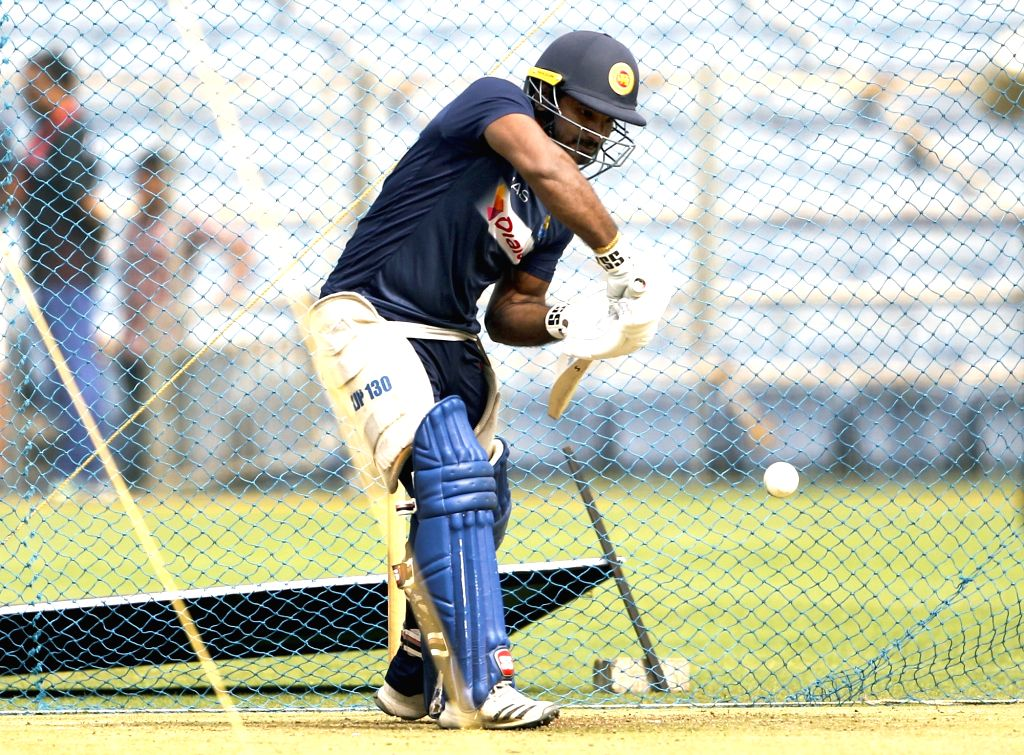 Sri Lanka's Kusal Perera during a practice session ahead of the 3rd T20I match against India at the Maharashtra Cricket Association Stadium in Pune on Jan 9, 2020.