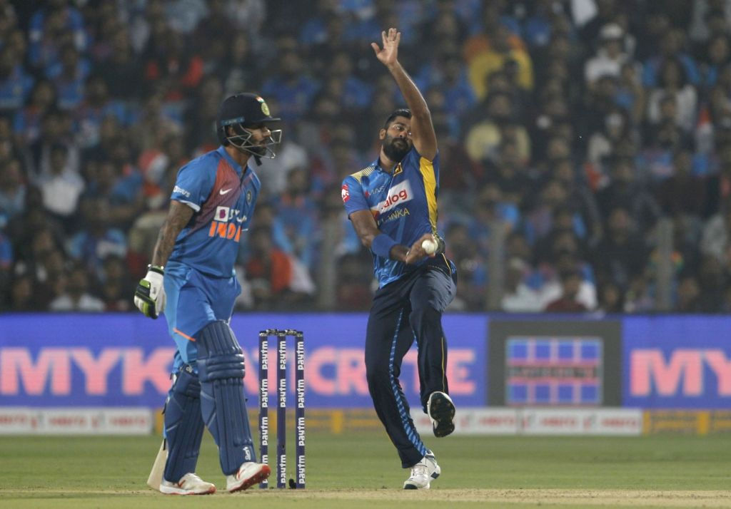 Sri Lanka's Lahiru Kumara in action during the 3rd T20I match between India and Sri Lanka at the Maharashtra Cricket Association Stadium in Pune on Jan 10, 2020.