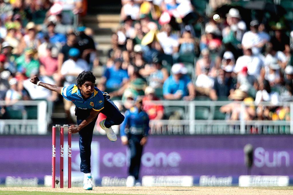 Sri Lanka's Lakshan Sandakan in action during the 1st T20I match between Sri Lanka and Australia at Adelaide Oval in Adelaide on Oct 27, 2019.