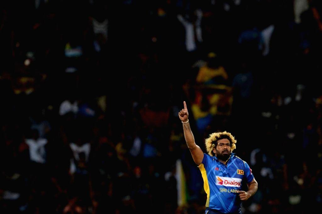 Sri Lanka's Lasith Malinga celebrates fall of a wicket during the 3rd T20I between Sri Lanka and New Zealand at Pallekele International Cricket Stadium in Kandy, Sri Lanka on Sep 6, 2019.
