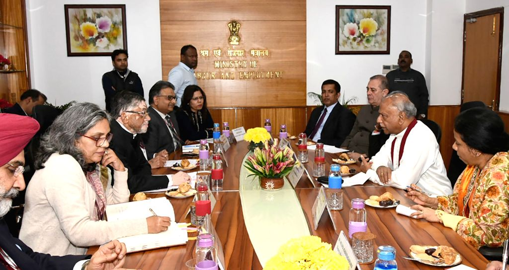 Sri Lanka's Minister of Foreign Relations, Skills Development, Employment and Labour Relations Dinesh Gunawardena during a meeting with Union MoS Labour and Employment (Independent Charge) ... - Santosh Kumar Gangwar
