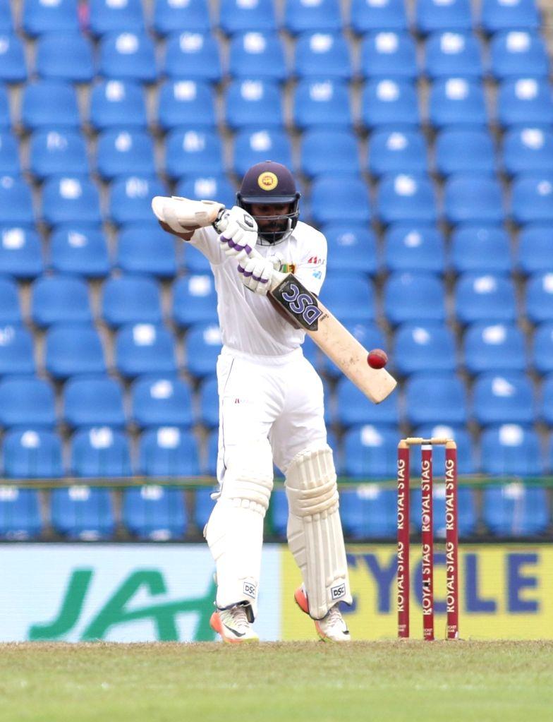 Sri Lanka's Niroshan Dickwella in action on Day 3 of the third test match between India and Sri Lanka at Pallekele International Cricket Stadium in Pallekele, Sri Lanka on Aug 14, 2017.