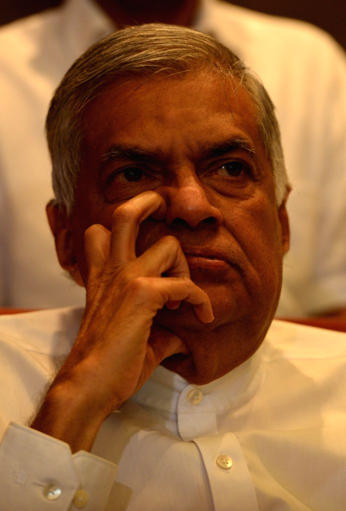 ": Sri Lanka's ""ousted"" prime minister Ranil Wickremesinghe attends a media conference in Colombo, Sri Lanka, Oct. 27, 2018. Sri Lankan President Maithripala ..."