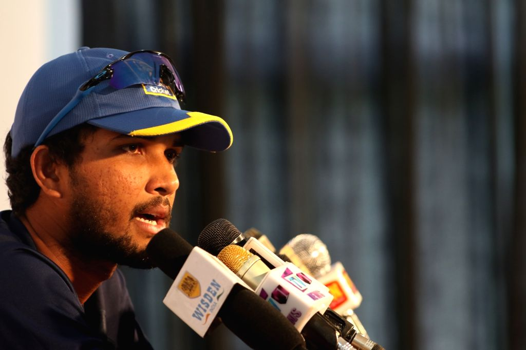 Sri Lanka's test cricket captain Dinesh Chandimal during a press conference ahead of the third test cricket match against India in Pallekele, Sri Lanka on Aug 11, 2017. - Dinesh Chandimal