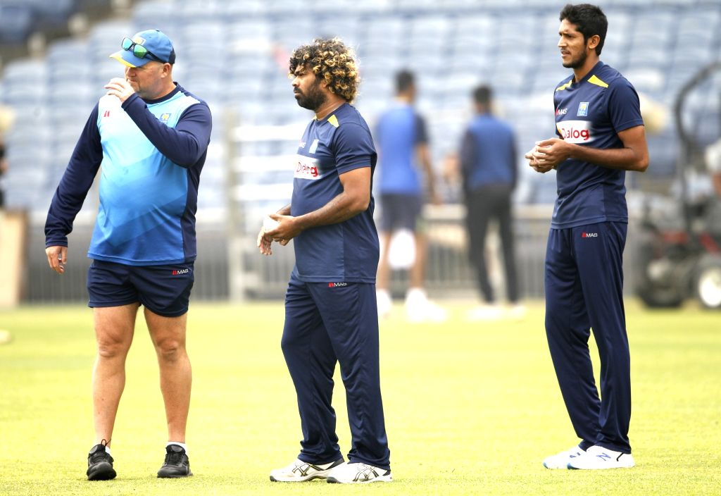 Sri Lankan captain Lasith Malinga during a practice session ahead of the 3rd T20I match against India at the Maharashtra Cricket Association Stadium in Pune on Jan 9, 2020. - Lasith Malinga