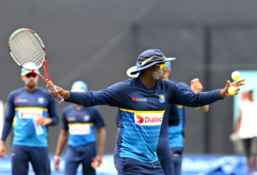 Sri Lankan cricketer Angelo Mathews during a practice session ahead of the first one-day international cricket match against India in Dambulla, Sri Lanka on Aug 19, 2017.