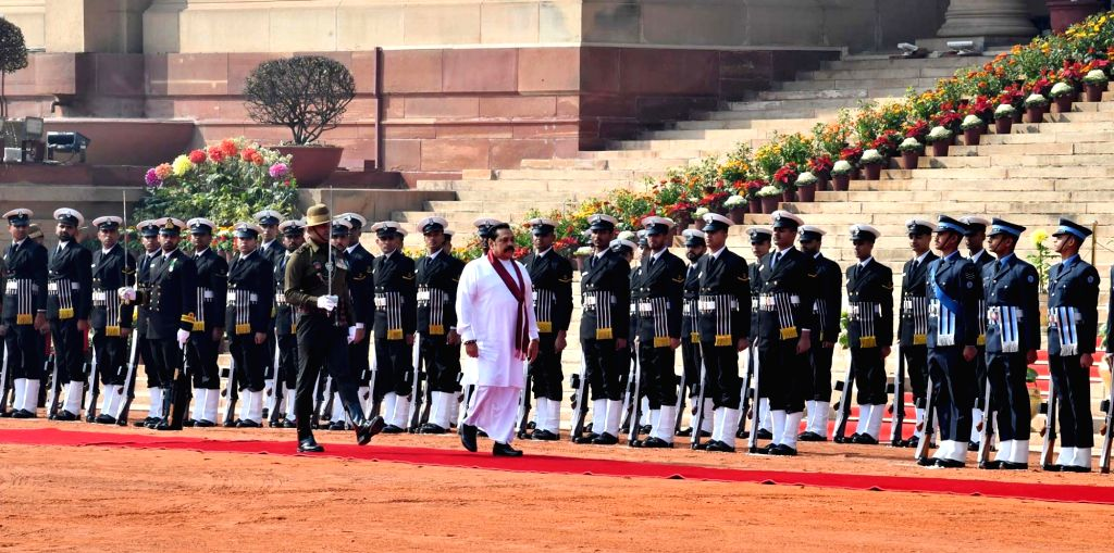 Sri Lankan Prime Minister Mahinda Rajapaksa inspects the Guard of Honour during a Ceremonial Reception accorded to him at Rashtrapati Bhavan, in New Delhi on Feb 8, 2020. - Mahinda Rajapaksa