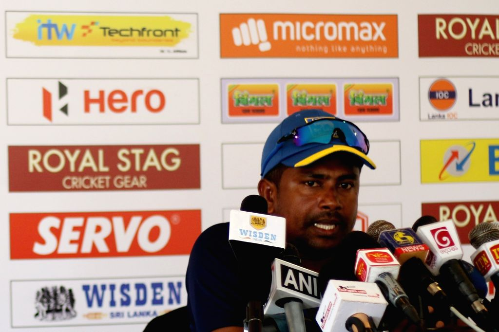 Sri Lankan test captain Rangana Herath addresses a press conference at Galle International Stadium in Galle, Sri Lanka on July 25, 2017. - Rangana Herath