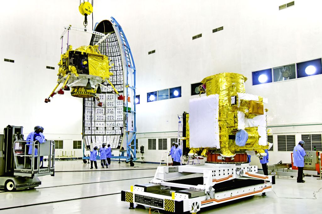 Sriharikota: Hoisting of Vikram lander during Chandrayaan2 spacecraft integration at launch centre. India's heavy lift rocket Geosynchronous Satellite Launch Vehicle - Mark III (GSLV Mk III), nicknamed as 'Bahubali' and its passenger Chandrayaan-2 be