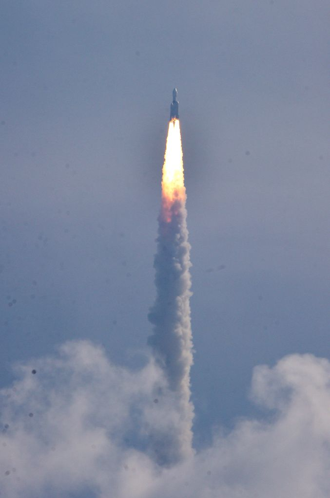 Indian Space Research Organisation's Geosynchronous Satellite Launch Vehicle (GSLV Mark-III) rocket lifts off carrying CARE (Crew Module Atmospheric Re-entry Experiment) from the east .