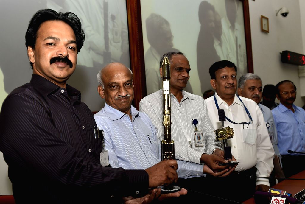Indian Space Research Organization (ISRO) chairman A S Kiran Kumar during a press conference after the successful launch of PSLV-C27, carrying the IRNSS-1D, in Sriharikota on March 28, ...