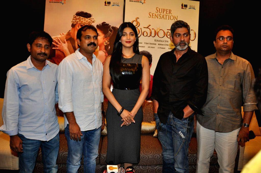 Srimanthudu film press meet at Hyderabad.