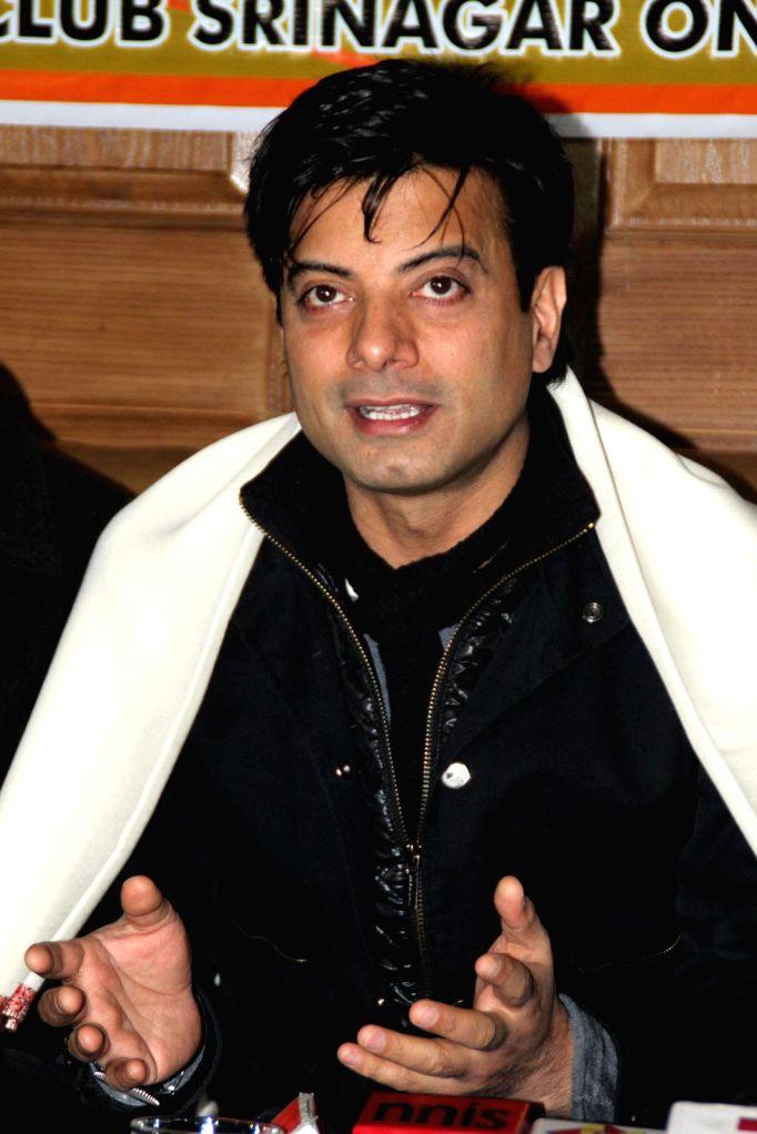 Actor Rahul Bhatt addresses a press conference in Srinagar on Feb. 2, 2015.