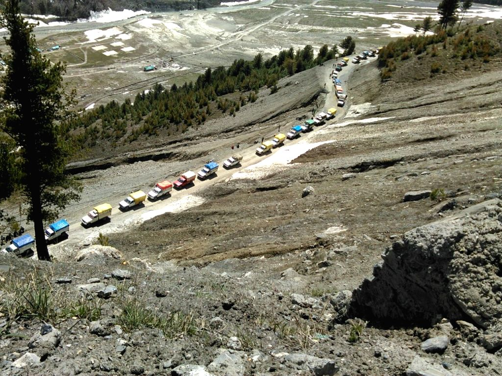 Srinagar, April 11 (IANS) The Srinagar-Leh National Highway was reopened on Saturday after four months, to be used only for augmenting supplies of essential commodities in the Ladakh region, officials said.(File Photo: IANS)