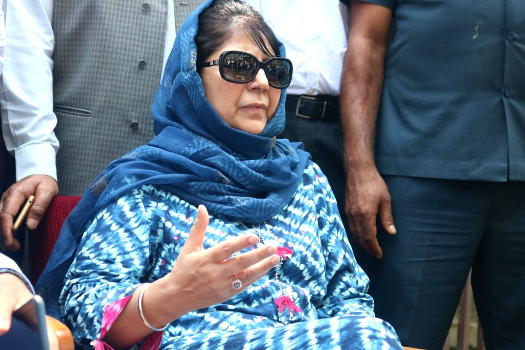Srinagar: Former Jammu and Kashmir (J&K) Chief Minister and Peoples Democratic Party (PDP) leader Mehbooba Mufti addresses a press conference in Srinagar on Aug 4, 2019. (Photo: IANS) - Mehbooba Mufti