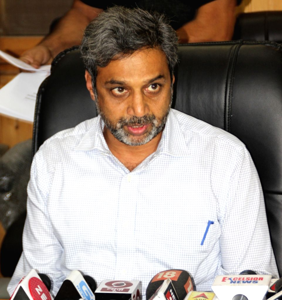 : Srinagar: Jammu and Kashmir Chief Electoral Officer (CEO) Shaleen Kabra addresses a press conference regarding the elections to urban local bodies which will be held in the state in four phases ...