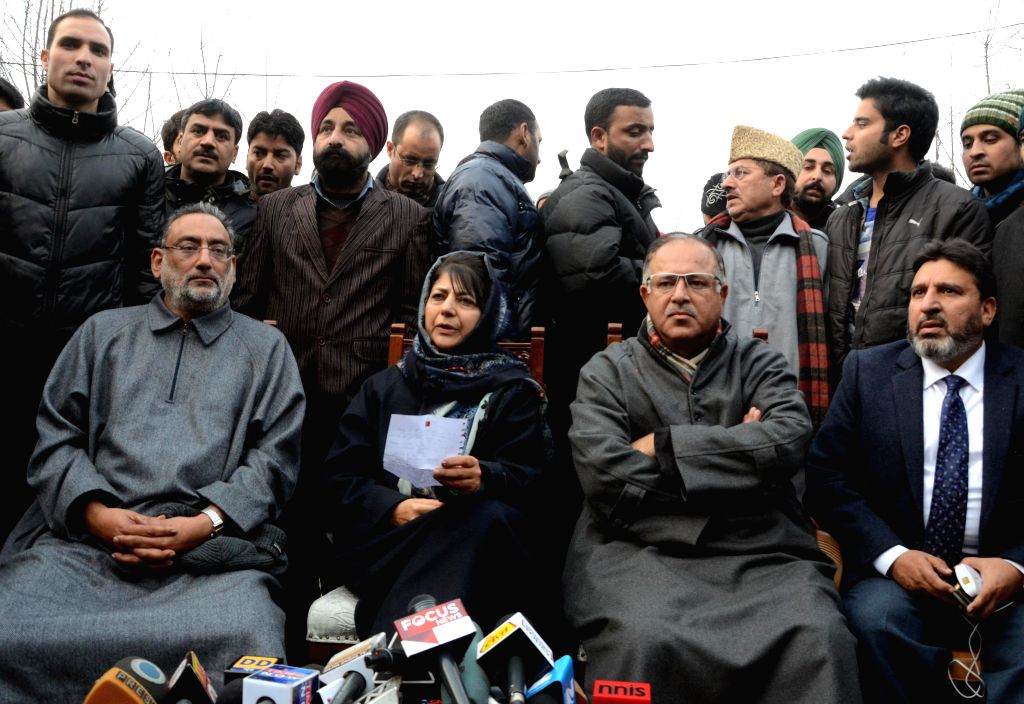 Peoples Democratic Party (PDP) leader Mehbooba Mufti Sayeed addresses a press conference in Srinagar, on Dec 23, 2014. - Mehbooba Mufti Sayeed