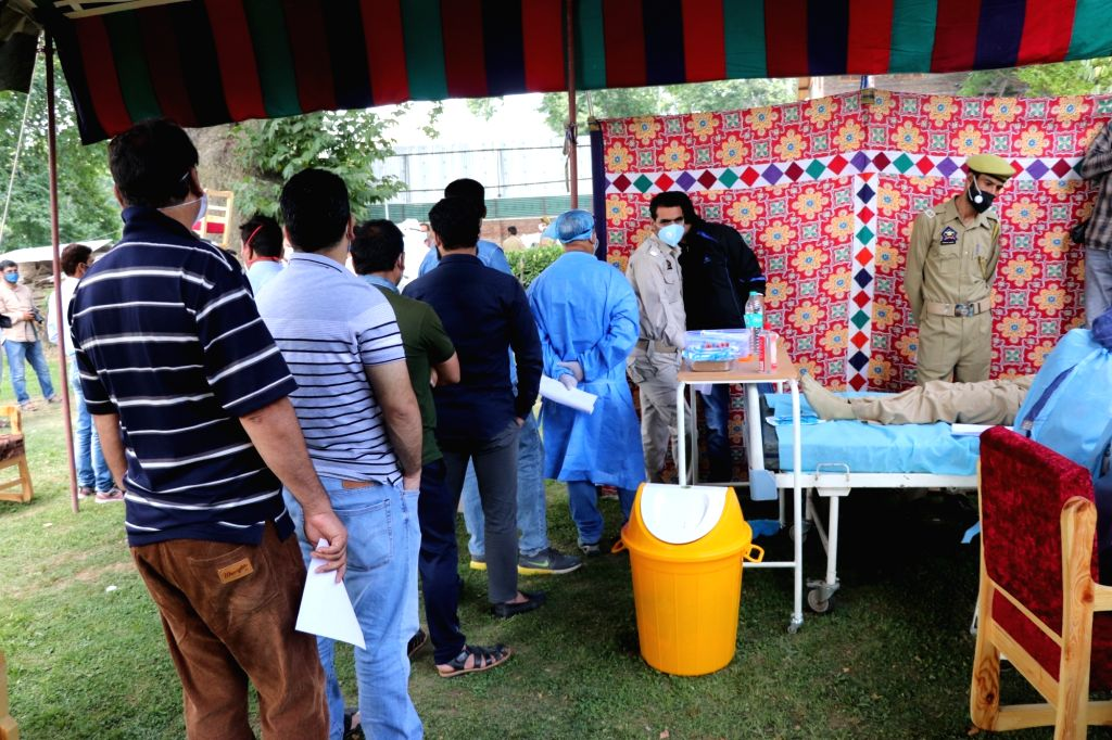 Srinagar: Police personnels and others, recovered from COVID-19  voluntarily donated their plasma at Plasma Screening Camp organised at Kashmir Nursing Home by J&K Police and Dept of Health and Medical Education, in  Srinagar on July 22, 2020. (Photo